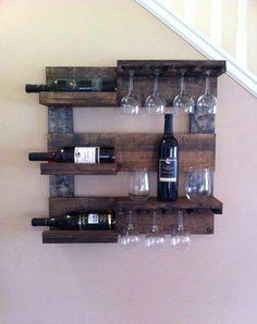 Wood Wall Wine Rack, Wood Wine Holder, Rustic Wine Racks, Hanging Wine Rack, Wine Glass Holder, Wine Bottle Holders, Wine Bottles, Box Wine, Diy Hanging