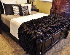 Black and Gray Ruffled Bedding