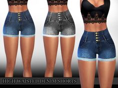 The Sims Resource: High Waisted Denim Shorts by saliwa • Sims 4 Downloads