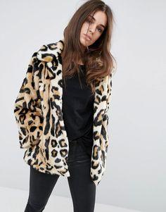 Image 1 ofASOS Swing Coat in Leopard Faux Fur