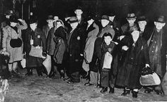 Jews in the town of Coesfeld, in northwestern Germany, assembled for deportation to the Riga ghetto. Coesfeld, Germany, December 10, 1941.