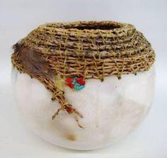 Art Pottery Vessel/Basket, Signed Diehl -