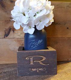 Personalized Mason Jar Box Rustic Mason Jar by TheSilverPluM1
