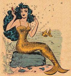 Vintage Mermaid Pin Up