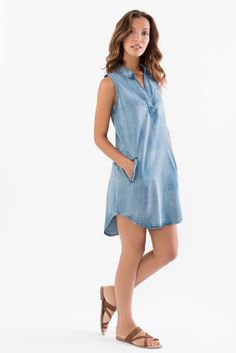 Denim Shirt Dress with Front Pockets