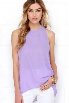 Cute Lavender Top - Sleeveless Top - $31.00