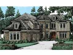 Home Plans HOMEPW10920 - 4,154 Square Feet, 5 Bedroom 4 Bathroom Tudor Home with 3 Garage Bays