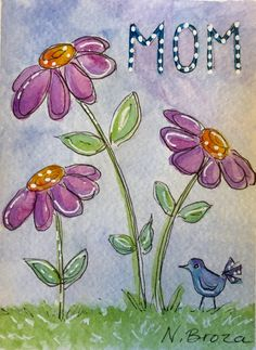 Watercolor and ink card for mom with flowers