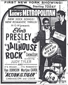 October 17th 1957 - The movie Jailhouse Rock, starring Elvis Presley, is released in the US, premiering at Loews State Theatre where Elvis worked as an usher five years earlier