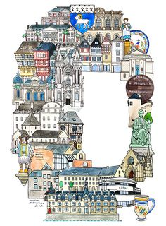 Quimper - ABC illustration series of European cities by Japanese illustrator Hugo Yoshikawa