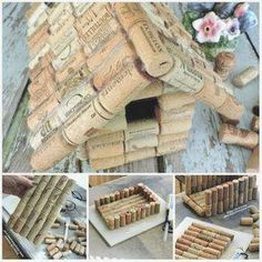 Nice house for birds with cork stoppers. 16 smart ways to use cork stoppers Wine Cork Art, Wine Cork Crafts, Wine Bottle Crafts, Indoor Crafts, Fun Crafts, Wine Cork Birdhouse, Popsicle Stick Christmas Crafts, Wine Cork Projects, Bird Houses Diy