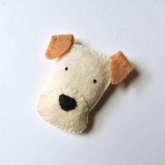 Wheaten Terrier Felt Brooch Cream White Dog Felt Pin by mikaart, $12.99