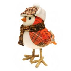 KMart 2016 Harvest Standing Bird With Winter Cap And Scarf