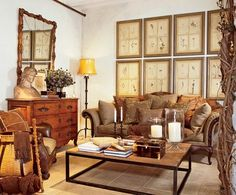 Designs from Ralph Lauren Home's fall 2007 St. Germain line. Using this as inspiration for decorating our living room.