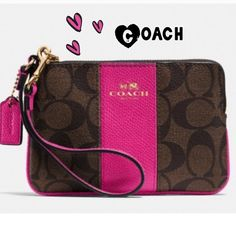 "✨COACH signature wristlet 100% AUTHENTIC COACH brown and pink ruby signature coated canvas and leather trim wristlet.  Interior has two credit card pockets.  Gold zipper and gold Coach logo on front.  6.25"" wide x 4"" high.  Brand new with tags.  Coach gift box included.  Bundle with matching file bag in my closet for extra discount. Bags Clutches & Wristlets"