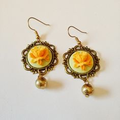 #earrings #handmade #vintage #paris #resin #rose #flower #gold #teal #orecchini #kawaii #pinup