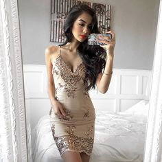 2017 Sexy Nude Sequin Lace Deep V Strap Summer Mini Club Party Dress