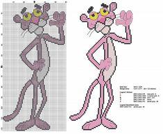Pink Panther full figure cross stitch pattern
