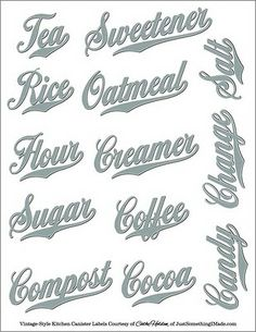 Free PDF Images: these are great, print on clear full sheets labels http://www.worldlabel.com/Pages/wl-ol175.htm cut out and label your pantry canisters. Suggest using clear labels.. #labels