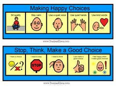 Week 1 Communication and Social Skills: Visual process strips to teach students positive behavior choices Classroom Behavior, Autism Classroom, Classroom Decor, Behaviour Management, Classroom Management, Positive Behavior Support, Behavior Interventions, Social Thinking, School Psychology