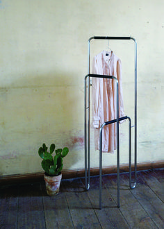 Comments from the designers: We organize ourselves very differently. Maybe we have an idea about how our products should be used, but users can have other ideas and needs that we have not discovered. Therefore, it is a good idea to make things that are easy to move around and change. Essentially, Standby clothes stand is a clothes rack that both is high, low and wide and can be adjusted and set up in different positions.