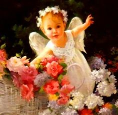 Baby Angel Vylette are you bringing flowers to your dear Mommy?
