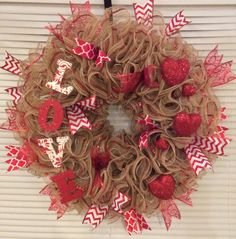 Valentines day burlap ruffle wreath