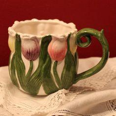 Pottery Mug. Large Mug with Tulips Decorative Motif.  Hand