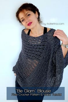 """""""Be Glam"""" Blouse. Crochet Pattern """"Be Glam"""" Blouse. Crochet Pattern – ByKaterina Always aspired to figure out how to knit, but undecided where to start? Crochet Blouse, Crochet Poncho, Crochet Hooks, Free Crochet, Knit Crochet, Crochet Sweaters, Knitting Patterns, V Stitch, Groomsmen"""