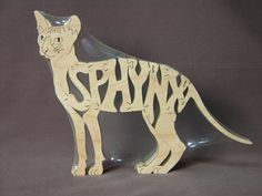Sphynx Cat Puzzle  Wooden Toy Cut with Scroll Saw by Puzzimals, $12.00