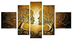 Canvas Oil Paintings Loving Couple Tree Painting | 5 Panel | 225 - HYGGE ARTWORKS