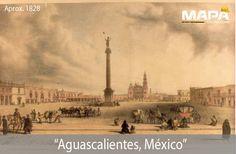 #BuenosDias, el poblado de #Aguascalientes fue erigido alrededor de la Plaza de la Patria. Hoy día es el núcleo de la Capital, y es aquí donde se localizan los principales edificios. (foto año 1828)