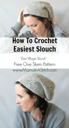 """How To Crochet An Easy Slouchy Hat – """"East Village Slouch"""" This is all done in single crochet and includes a picture tutorial via @MamaInAStitch"""