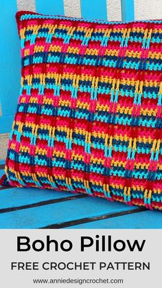 Boho Pillow – Free Crochet Pattern for a fun easy cushion in bright colours. A… Boho Pillow – Free Crochet Pattern for a fun easy cushion in bright colours. A…,Yay, Yarn! Crochet Cushion Pattern, Boho Crochet Patterns, Crochet Pillow Patterns Free, Cushion Cover Pattern, Crochet Cushion Cover, Crochet Cushions, Afghan Patterns, Square Patterns, Knitting Patterns