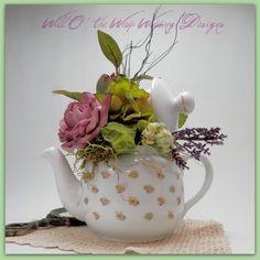 Scriptural Teapot centerpiece Wedding Tea Party Decor via Etsy