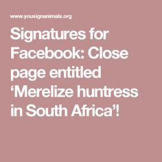 Signatures for Facebook: Close page entitled 'Merelize huntress in South Africa'!