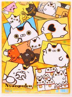 yellow Nyanpuku lucky cat A4 plastic file folder - Folder - Stationery - kawaii shop modeS4u