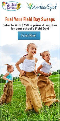 Ends 4/1/15. Enter to win $250 in Field Day supplies & prizes from VolunteerSpot & @carnivalsavers! Click >> http://www.volunteerspot.com/enter-to-win?utm_source=pinterest&utm_medium=banner&utm_term=field_day&utm_campaign=sweeps