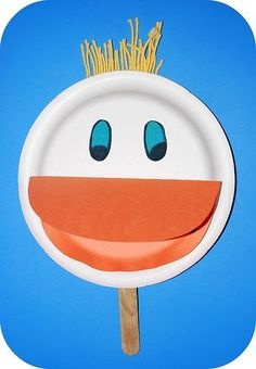 Duck puppet from a paper plate. Easy to make and perfect for ...