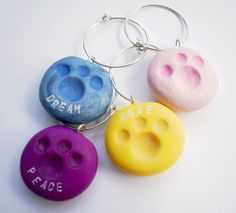 Wine Charms Paw Print Polymer Clay