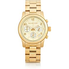Michael Kors Watches Gold-tone watch ($165) ❤ liked on Polyvore featuring jewelry, watches, accessories, bracelets, gold, gold tone watches, cuff watches, stainless steel jewellery, stainless steel watches and michael kors watches