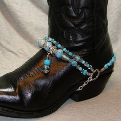 Sky Blue Beaded Boot Bracelet by FunkyFrogsCrafts on Etsy, $60.00