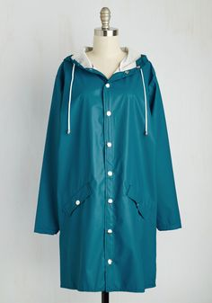 Ups and Downpours Rain Coat in Cerulean. When youre out about in this classic rain coat by Spanish brand Kling, you change the reputation of rainy days into one of cute opportunity! #blue #modcloth
