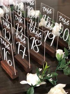 Wedding Crafts, Diy Wedding Decorations, Wedding Centerpieces, Diy Wedding Table Numbers, Wedding Table Signs, Wedding Sign In Ideas, Funny Wedding Signs, Wood Table Numbers, Diy Wedding Projects