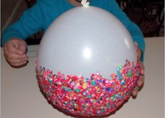 Easy Kids Crafts- Balloon Bowl: Just add a few layers of confetti and glue. Let dry completely and pop the ballon to get a bowl shape.