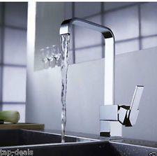Modern Square Victoria Chrome Kitchen Sink / Bathroom Basin Mixer Tap - (L11)