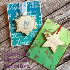 Today I'm sharing two cards with removable ornaments using stamp. I heatembossed the images and… Handmade Card Making, Christmas Cards, Christmas Ornaments, Stamps, Greeting Cards, Paper Crafts, Charmed, Crafty, Holiday Decor