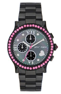 Betsey Johnson pink & black bling watch.