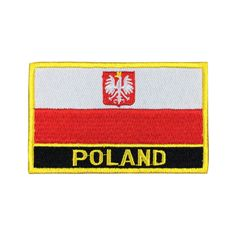 Poland Flag Patch Embroidered Patch Gold Border Iron On patch Sew on Patch Bag Patch meet you on www.Fleckenworld.com
