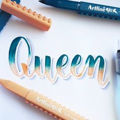 Queen for day 9 of 👸 Swipe for a video of me blending 😃⬅ hand lettering drawing Calligraphy Handwriting, Calligraphy Quotes, Calligraphy Letters, Brush Lettering Quotes, Hand Lettering Alphabet, Creative Lettering, Lettering Tutorial, Bullet Journal Ideas Pages, Copics